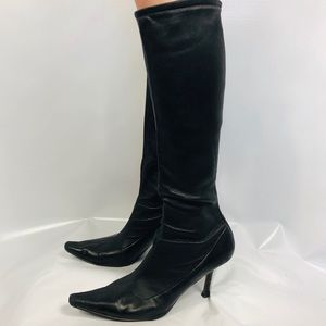 JIMMY CHOO 42 Leather Tall Heeled Boots